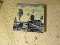 VTG RARE DELFT BLUE WINDMILL TILE WITH  MUSIC BOX ON BACK UNMARKED