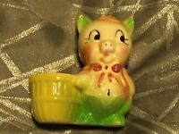 Vintage Shawnee Pottery Collectible Pig Planter w/ Basket Unmarked 4.75