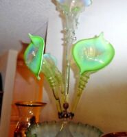 Large Victorian Green and Opalescent Glass Epergne