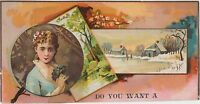 c1880 Antique Christmas or Holiday Victorian Trade Card Cut-out Vintage Ad