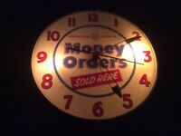 1950's American Express Money Order Lighted Sign Clock Pie Plate Works Great !!