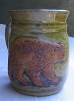 NICE Art Pottery Mug BROWN BEAR GRIZZLY Relief Signed Hand Thrown Ceramic Cup