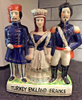 Vintage Staffordshire Figures England,Turkey & France- Commermorates Cremia War