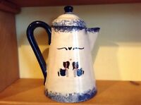 Nice large pottery pitcher by Janis cobalt blue trim