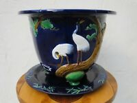 Antique Minton Majolica Crane Bamboo Large Footed Jardiniere Planter Stand c1874