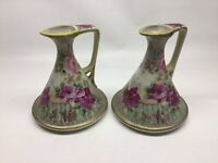 Antique Pair Of Hand Painted Nippon Moria get Ewer Pitchers