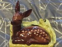 Vintage Shawnee USA Pottery Planter # 766 Brown Deer Lying On Grass 6.5