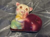 Vintage Shawnee Pottery Pig Planter W/ Red Apple 5
