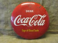 Vintage 1950s Coca-Cola Button Sign > Antique Coke Beverage Soda Store RARE 9954