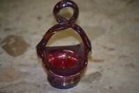 Fenton Art Glass Red Carnival Twisted Handle Mini Basket 4 3/4