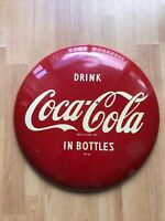 """Vintage Coke Button 16"""" Tin Sign Button Advertising Drink Coca Cola In Bottles"""
