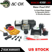 AC-DK 12V DC Electric Winch 4500 lbs ATV Winch With Steel Rope and Hook Stopper!