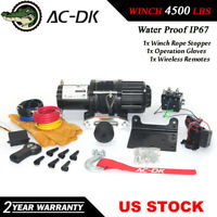 AC-DK 12V Electric Winch 4500lbs ATV Winch With Synthetic Rope and Hook Stopper