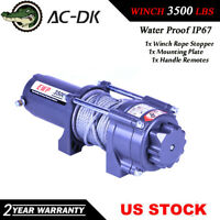 AC-DK 12V DC Electric Winch 3500 lbs ATV Winch With Steel Rope and Hook Stopper!