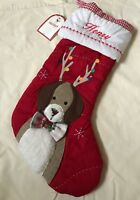 NWT Pottery Barn Kids DOG WITH ANTLERS Christmas Quilted Stocking- HENRY