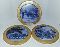 3 VINTAGE TER STEEGE HAND DECORATED ROUND WALL PLAQUES/TILES MADE IN HOLLAND EUC