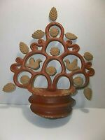 Vintage Mexican Folk Art Pottery TREE OF LIFE Planter BIRDS Flowers
