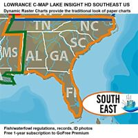 LOWRANCE C-MAP LAKE INSIGHT HD SOUTHEAST US Traditional Look of Paper Charts