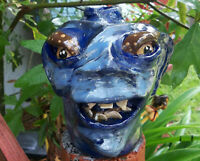 Ugly jug .. Hand Crafted Face Jug - signed-Decorative Southern Pottery-