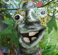 Southern Pottery Hand Crafted ugly Face Jug - signed-Decorative Folk Art