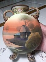 RARE ANTIQUE NIPPON FOOTED HAND PAINTED BEADED MORIAGE HANDLED VASE/URN