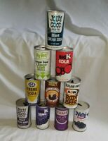Vintage LOT OF 10 Rare Metal PULL TAB Pop 12 OZ Soda CANS, Super Cool. FAME,