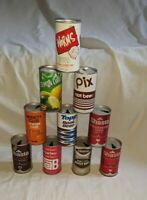 Vintage LOT OF 10 Rare Metal PULL TAB Pop Soda CANS, Super Cool. I LIKE WORMS,