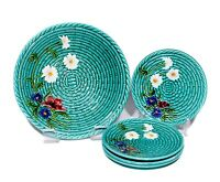 SMF Schramberg Majolica Bowl and Plates - Flowers on Green Basket Weave