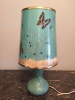 RARE VAN BRIGGLE LAMP With ORIGINAL BUTTERFLY SHADE #1 - Turquoise