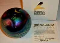 Lundberg Studio Contemporary Art Glass Violet Night Sky Moon Star Paperweight T2