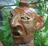 Ugly Face Jug  - signed -  Decorative Southern Pottery -Rock Teeth