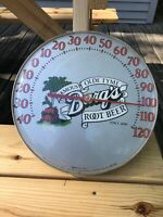 Vintage Round Advertising Thermometer Barq's Pop Soda, Original, Root Beer