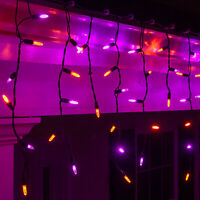 70 LED Halloween Icicle Lights Purple Orange Black Wire 7.5ft. Home Party Decor