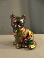 Fenton Hand Painted Amethyst Carnival Glass Cat Figurine Pink & White Flowers