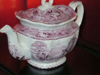 Antique Staffordshire Mulberry Teapot