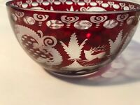 Bohemian Etched Ruby Red to Clear Crystal Bowl, Made in Czech Republic
