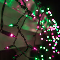 Purple Green Halloween Net Icicle Party String Lights Black Wire Connectable
