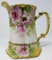 Large Hand Painted Nippon Pitcher with Gold and Pink Roses
