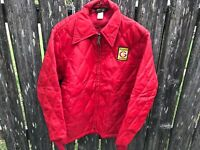 Vintage Red Swingster FUNK'S G HYBRIDS Quilted Farmer Jacket sz Small 1970's 80s