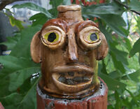 Ugly Face Jug  - signed -  Decorative Southern Pottery- Rock teeth