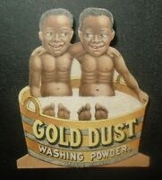 Victorian die cut trade card advertising Gold Dust Washing Powder racial topic