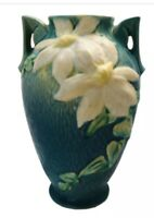 Roseville Pottery Vase in Clematis Pattern Green Trophy-style 110-9 USA 1944