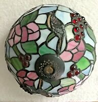 """TIFFANY STYLE STAINED GLASS 9.5"""" DIAMETER LAMPSHADE WITH GRAPES, FLOWERS, BIRDS"""