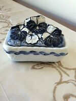 The Potting Shed Dedham Ceramic Covered Dish Box Blue White Flowers