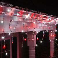 70 LED Christmas Icicle Lights White Wire Indoor Outdoor Holiday Hanging Lights