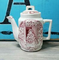Antique Staffordshire Engl. Red Transferware Little Mae w/ Pets Pottery Tea Pot