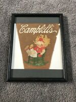 vintage campbell soup kid advertising felt Pennant- Great Graphics- VERY RARE