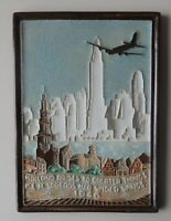 RARE PORCELEYNE FLES DELFT TILE KLM WITH ENGLISH TEXT 1946