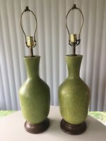 Pair Of Huge Gorgeous Speckled Mid-Century Haeger? pottery Lamps