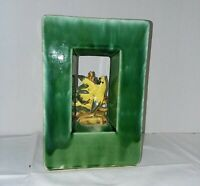 VINTAGE McCOY POTTERY SQUARE ARCATURE GREEN PLANTER VASE WITH YELLOW BIRD (25%)